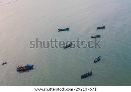 boat on the beach Om located at the famous Shiva - stock photo
