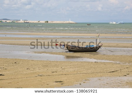 Boat on the beach. Skyline.Thailand