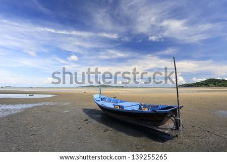 Boat on the beach. Skyline.Thailand - stock photo