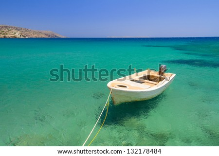 Boat on the blue lagoon of Vai beach, Crete