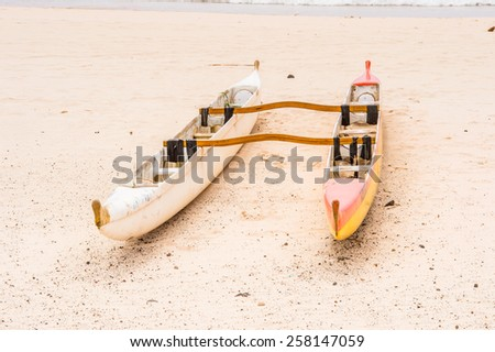 Boat on the coast of the Easter Island - stock photo