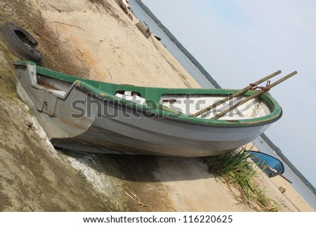 Boat on the dry shore - stock photo