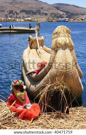boat on the lake Titicaca 2 - stock photo