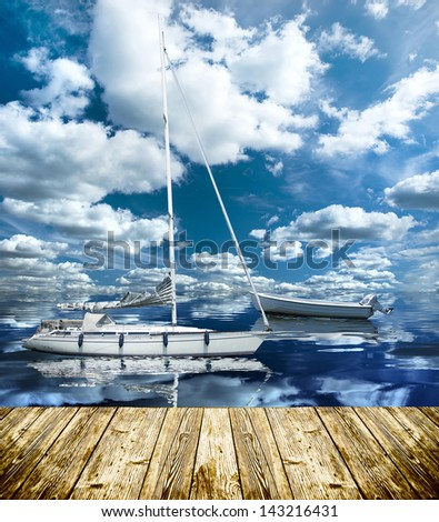 boat on the sea at summer time with nice weather - stock photo