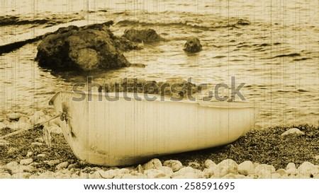 boat on the shore instagram styl - stock photo