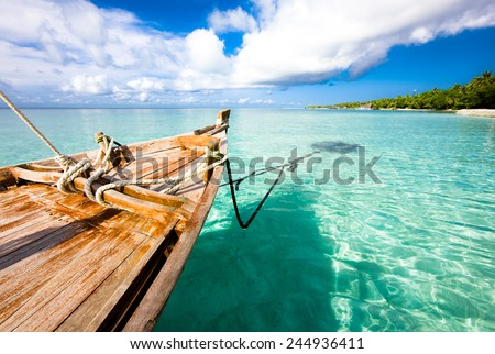 Boat on the water, Indian ocean. Kuramathi island - stock photo
