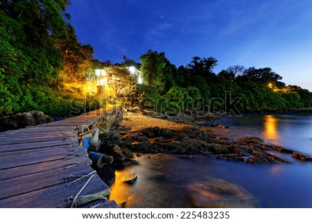 Boat pier at sunset in hong kong, Beautiful landscape. - stock photo