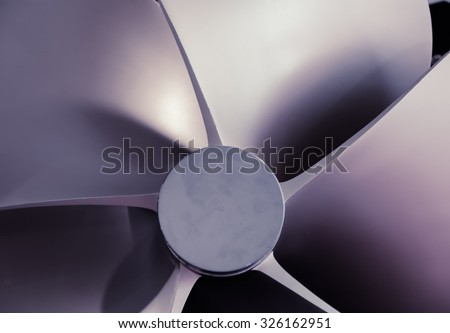 Boat Propeller close-up detail nice tech background or abstract texture, artistic toned photo - stock photo