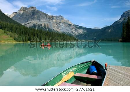 Boat rental in Emerald Lake, Canadian Rockies - stock photo