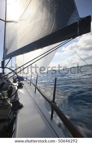 Boat sailing in the ocean. - stock photo