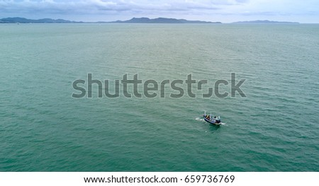 Boat sailing in the sea  - aerialphotography
