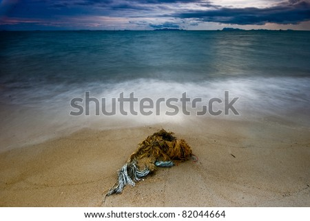 boat stay on the beach in ko samui thailand - stock photo