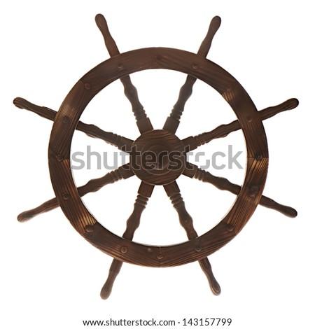 Boat steering wheel isolated on white background. - stock photo