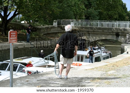boat tie up at a lock
