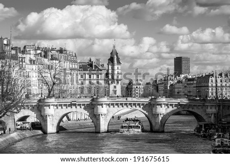 Boat tour on Seine river in Paris, France in black and white - stock photo