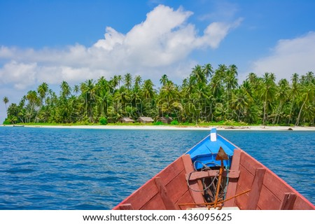 Boat trip to remote tropical island, Banyak islands, Aceh, Indonesia, Southeast Asia