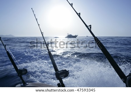 Boat trolling fishing on Mediterranean Ibiza Balearic Islands - stock photo