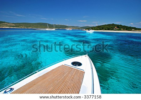 Boat Vacation on Tropical Cruise - stock photo
