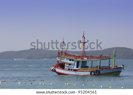 boat wait passenger on the sea - stock photo