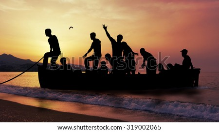 boat with migrants fleeing the war - stock photo