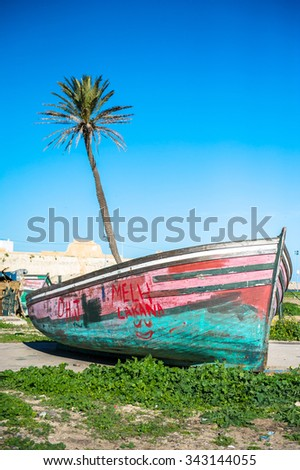 Boat with palm-tree