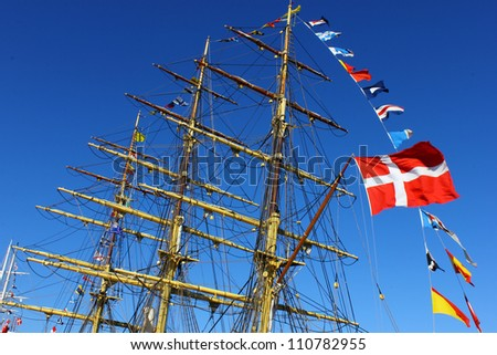 Boat with the danish flag - stock photo