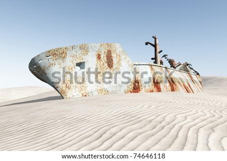 Boat wreck in the desert 3D image illustration - stock photo