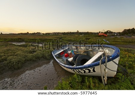 Boat YH227 on the Burham Deepdale Marshes - stock photo