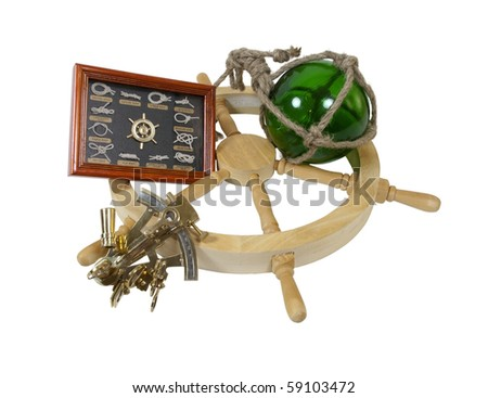 Boater knots guide for the different types of knots used on a boat with a glass float and  steering wheel and a sextant for direction - path included - stock photo