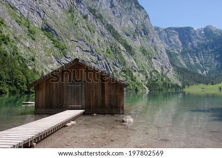 Boathouse at Obersee, Bavaria,Germany