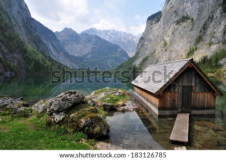 Boathouse at Obersee close to Berchtesgaden, Bavaria, Germany