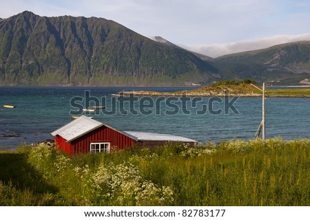 boathouse on the north coast of Norway - stock photo