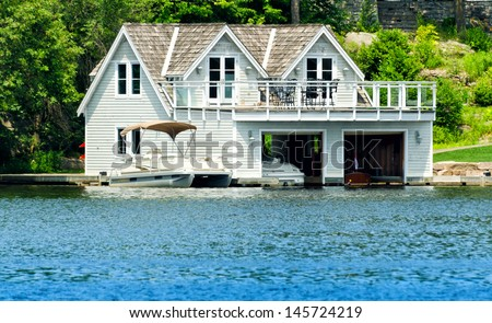 Boathouse with room upstairs - stock photo