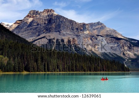 Boating on Emerald lake in Yoho national park, Canadian Rockies - stock photo