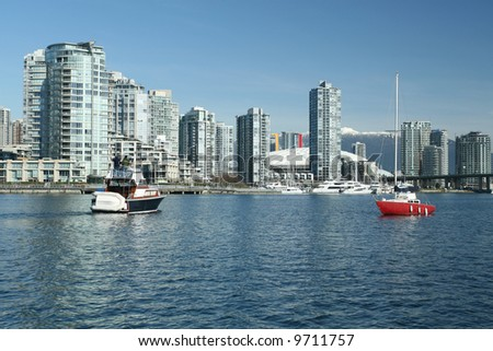 Boating on Vancouver's False Creek Inlet - stock photo