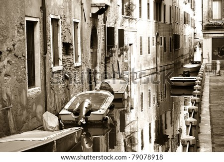 Boats along the canal, Venice, Italy