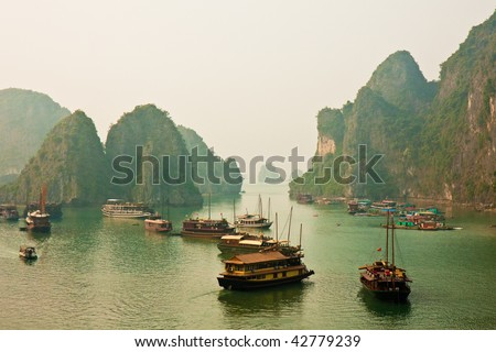 Boats Anchored in Halong Bay, Vietnam.