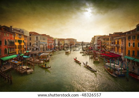Boats and gondolas on the Grand Canal of Venice, Italy.Tinting, artistic processing.