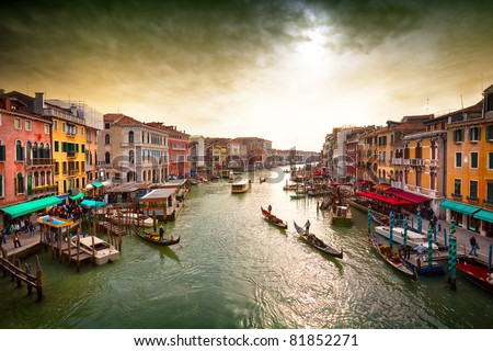Boats and gondolas on the Grand Canal of Venice,  View from Bridge Rialto.