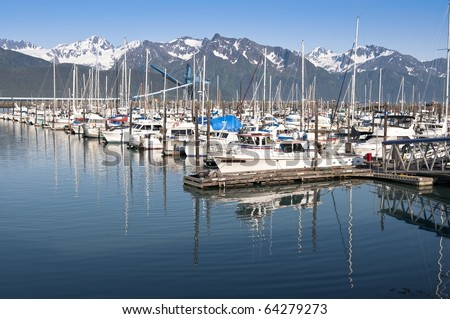 Boats at a pier in Seward, Alaska - stock photo