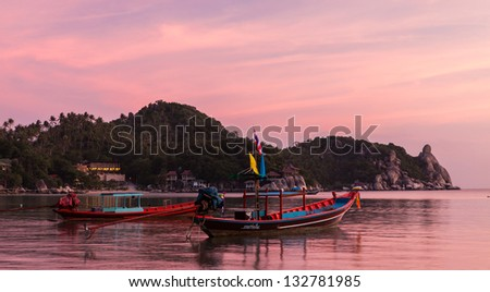 Boats at late sunset, Koh Tao, Thailand.