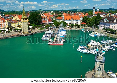 Boats at port of Lindau harbour, Lake Constance, Bavaria, Germany - stock photo