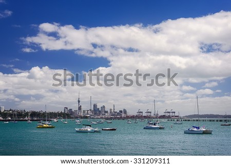 Boats at rest in the marina at  the Auckland's harbor, New Zealand  - stock photo