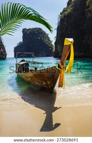 Boats at sea against the rocks in Thailand. Phi Phi Island - stock photo