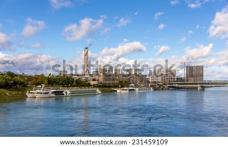 Boats at the embankment of Basel, Switzerland - stock photo