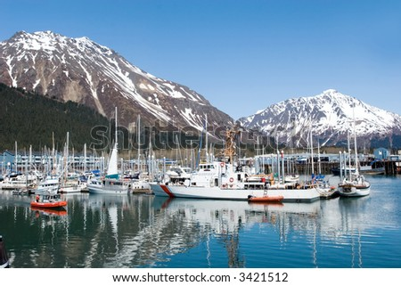 Boats at the Seward, Alaska marina - stock photo