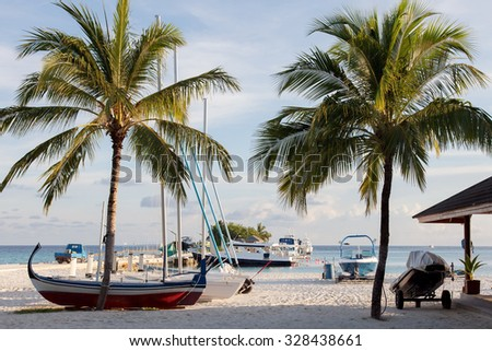 Boats, boats on the dock of a tropical island