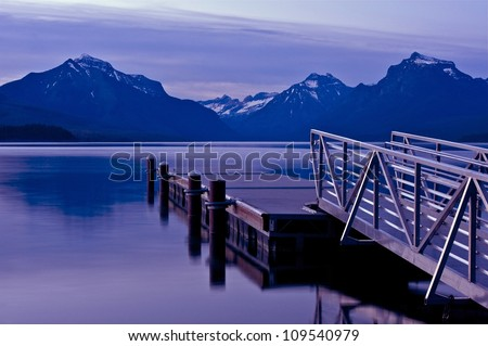 Boats Dock Lake McDonald / Apgar Village, Montana Glacier National Park, U.S.A. Famous Places Photo Collection. U.S. National Parks - stock photo
