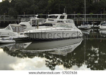 Boats docked in Shelter Cove Marina on Hilton Head Island, South Carolina. - stock photo