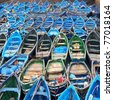 Boats.Essueirra city ( Unesco heritage).Morocco - stock photo